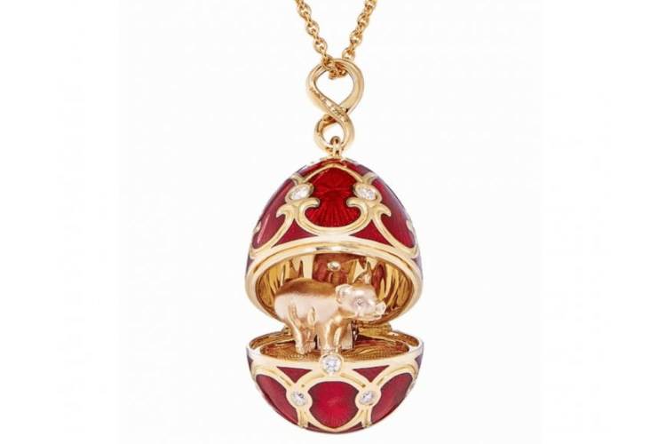 Faberge Pig egg necklace Pendant jewelry