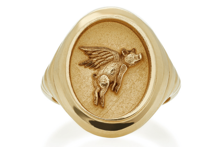 Retrouvai Flying Pig Yellow Goldjewelryring
