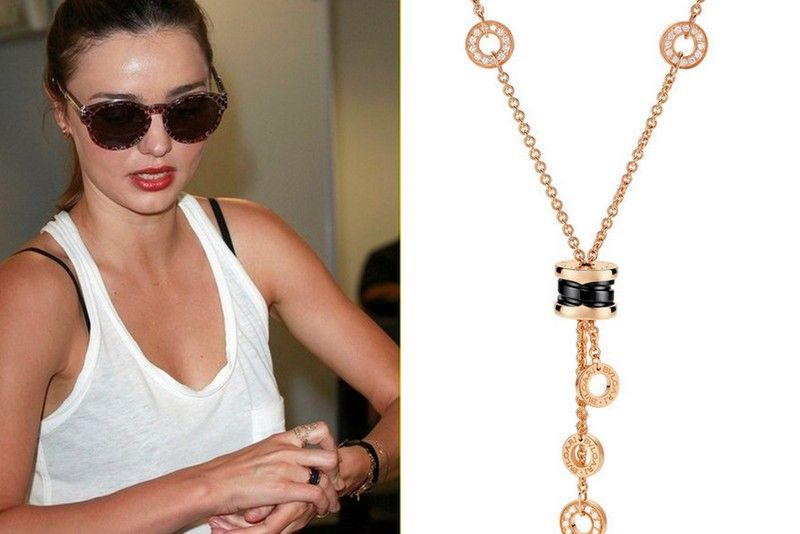 miranda kerr wearing the blue marble bulgari bzero1 ring the necklace of the collection