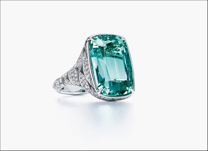 Tiffany Green Tourmaline Engagement Ring
