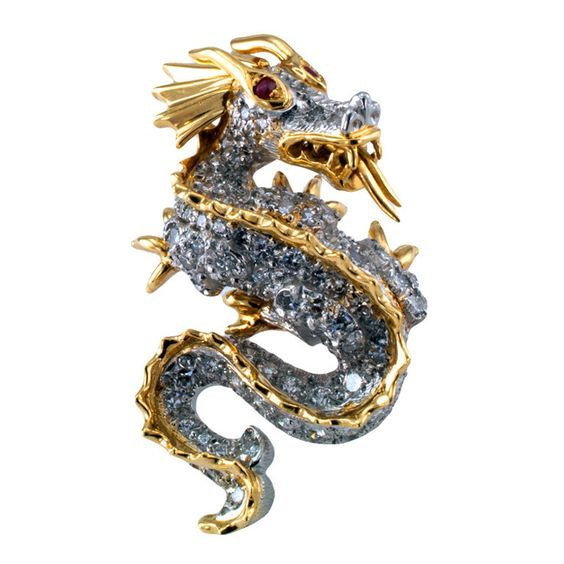 Tiffany Dragon jewelry Ruby eyes gold and platinum