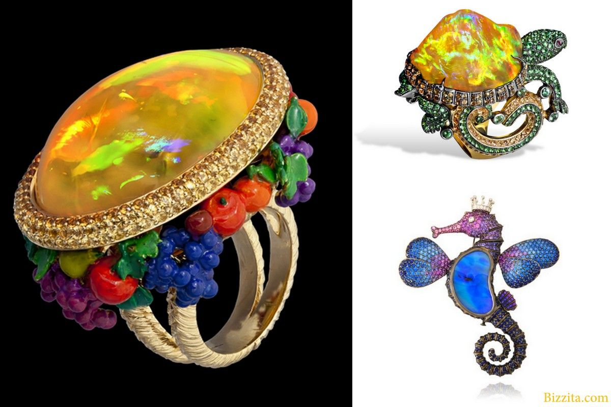 Lydia Courteille french joaillerie rings seahorseturtle animal mexican opal