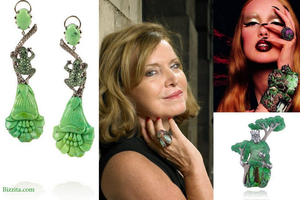 Lydia Courteille french paris jewelry joaillerie vert monkey ad earrings