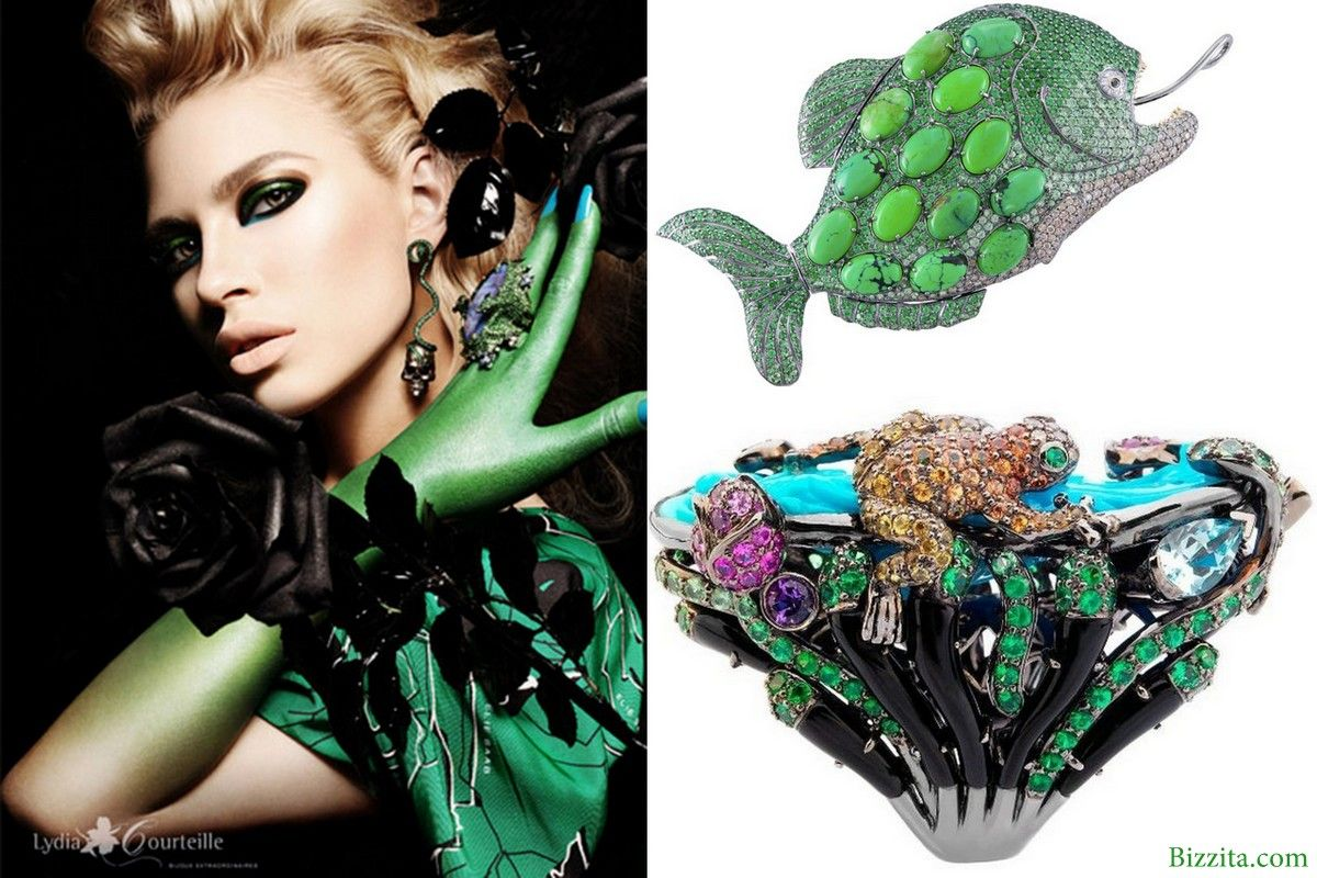 Lydia courteille french jewelry green ring frog fish