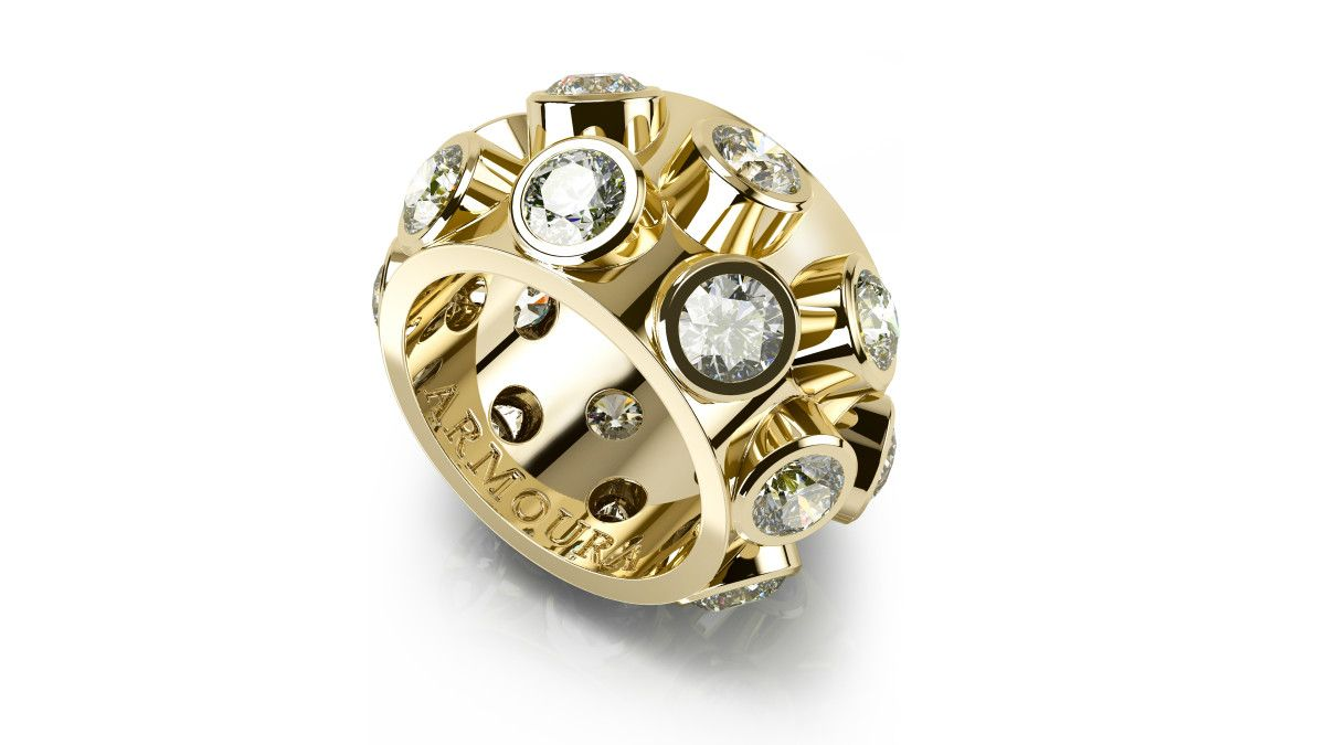 StuartMcGrathAmrouraJewellerydesigner18ct yellow gold and clear rounddiamonds