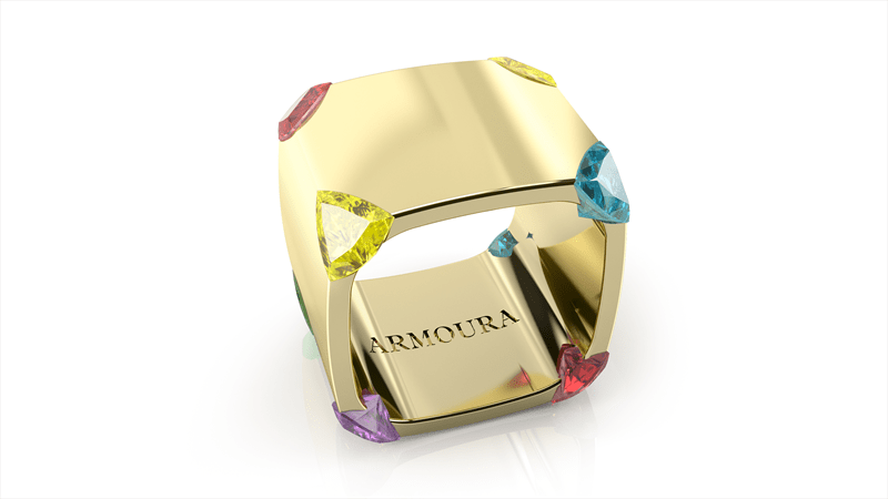 StuartMcGrathTrilliant ring 18ct yellow with coloured sapphires and rubies