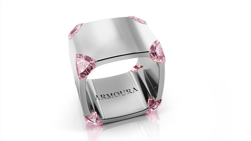 StuartMcGrathTrilliant ring Platinum with pink diamonds