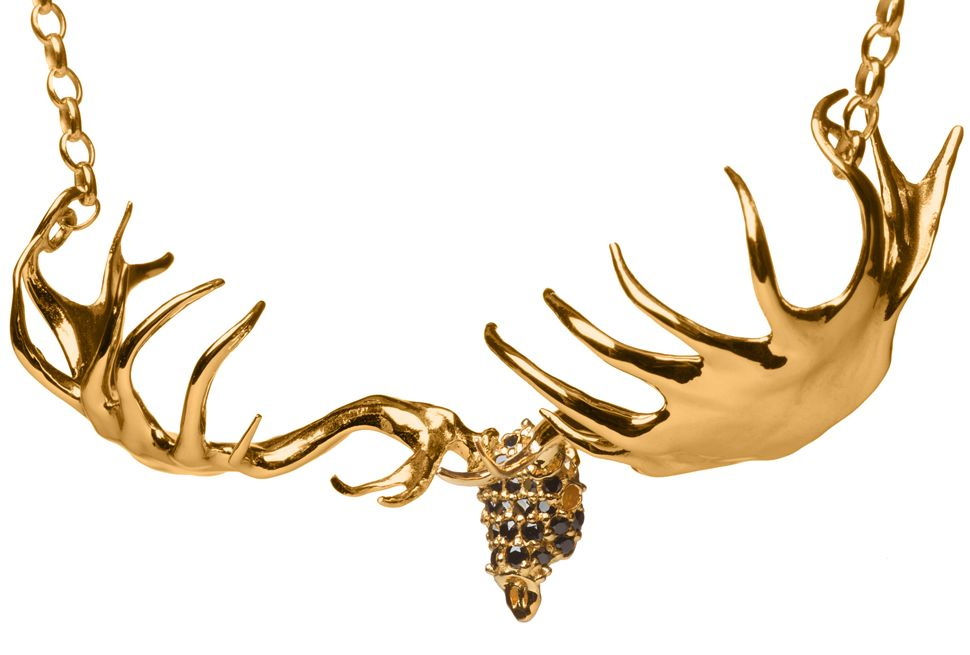 Stuart McGrath Amroura fine Jewellery designerIrish Elk Skull Necklace