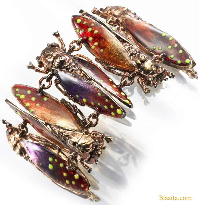 VERNISSAGE JEWELLERY ART.19 lysergic mothsVernissage Jewellery Art Ilenia Corti bracelet 925pinksilverscarabgioielli Bizzita