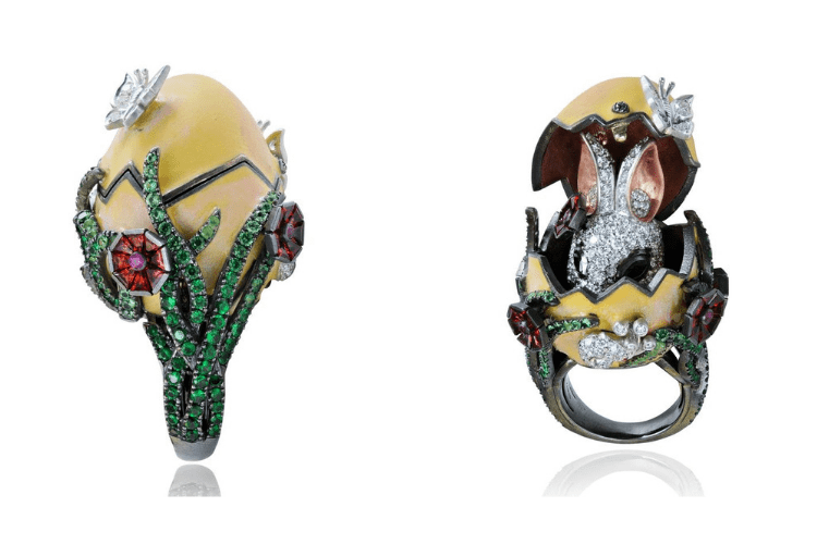 22.Lydia Courteille egg Bunny Ring Animal Jewelry