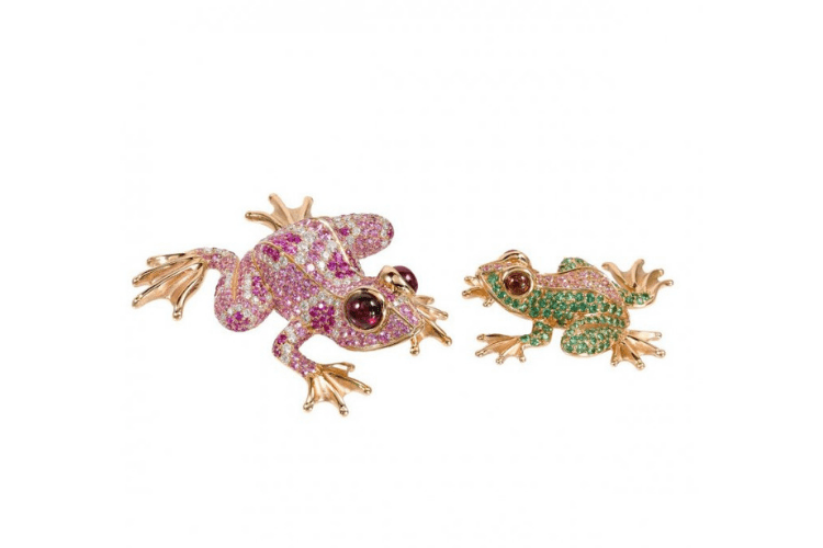 25.Godliaq Frogs animal jewelry bizzita.com Brooch pendant goldDiamondsrhodolite garnet saphhire