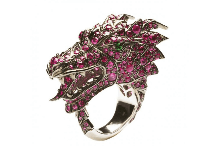 32.Henri.J.Sillam Dragon gemstones diamond goldanimal jewelry bizzita