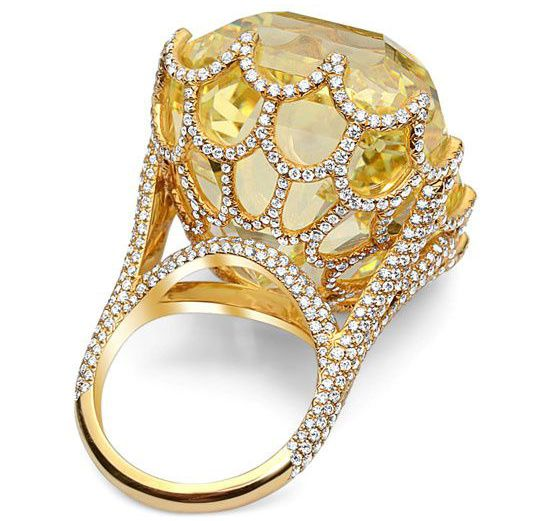 Cullinan Yellow Asscher Cut Diamond Ring