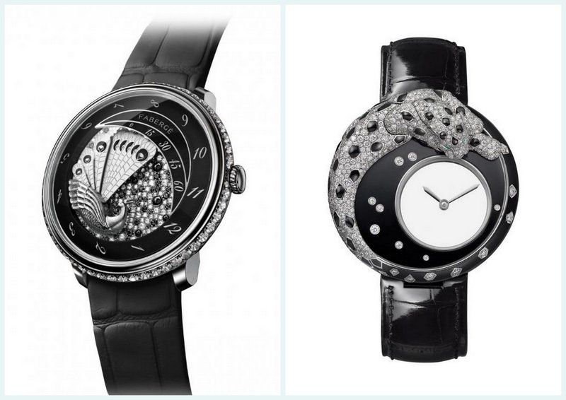 Fabergépeacockwatchlady Cartierpanthereblackwhitewatch