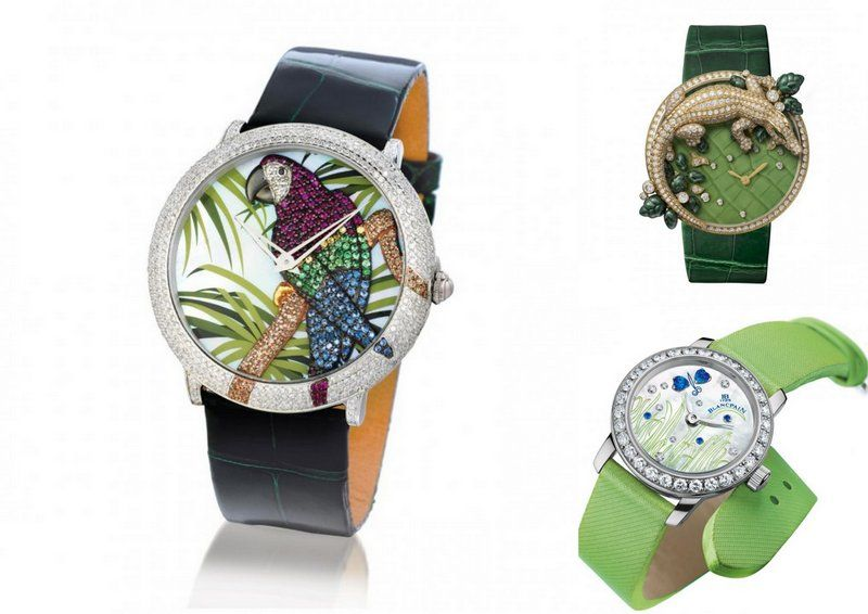 LeVianwatchparrot diamondlady Cartier watchcrocodileLes indomptables de cartierBlancpaingreenwatch