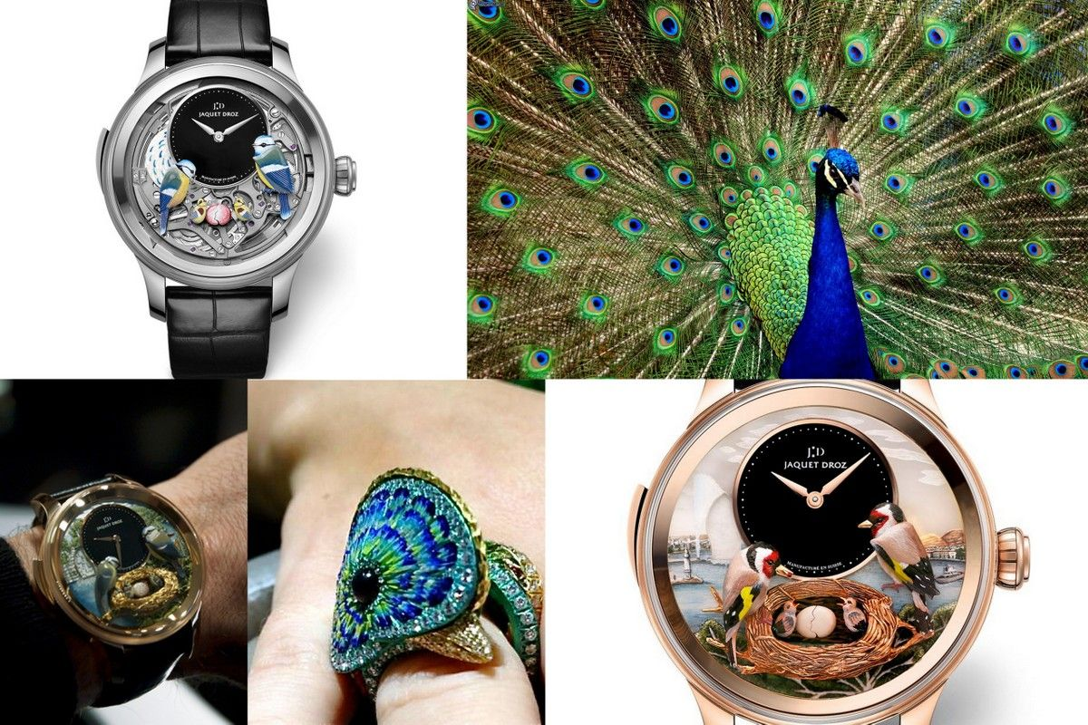 Bird jewelry watch jaquet droz peacock