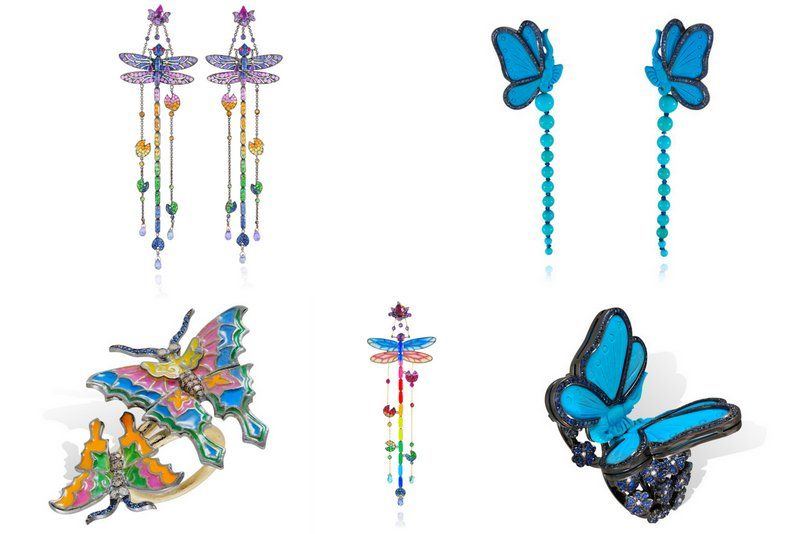 Lydia Courteille animalier butterfly multicolor jewelry
