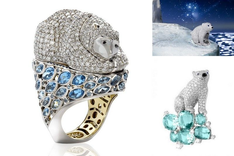 Polar bear jewelry diamond