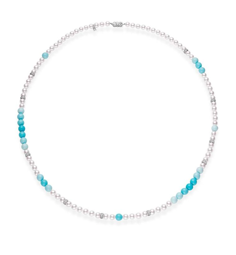 Turquoise Mikimoto Blue Sonnet turquoise and pearl necklac bizzita