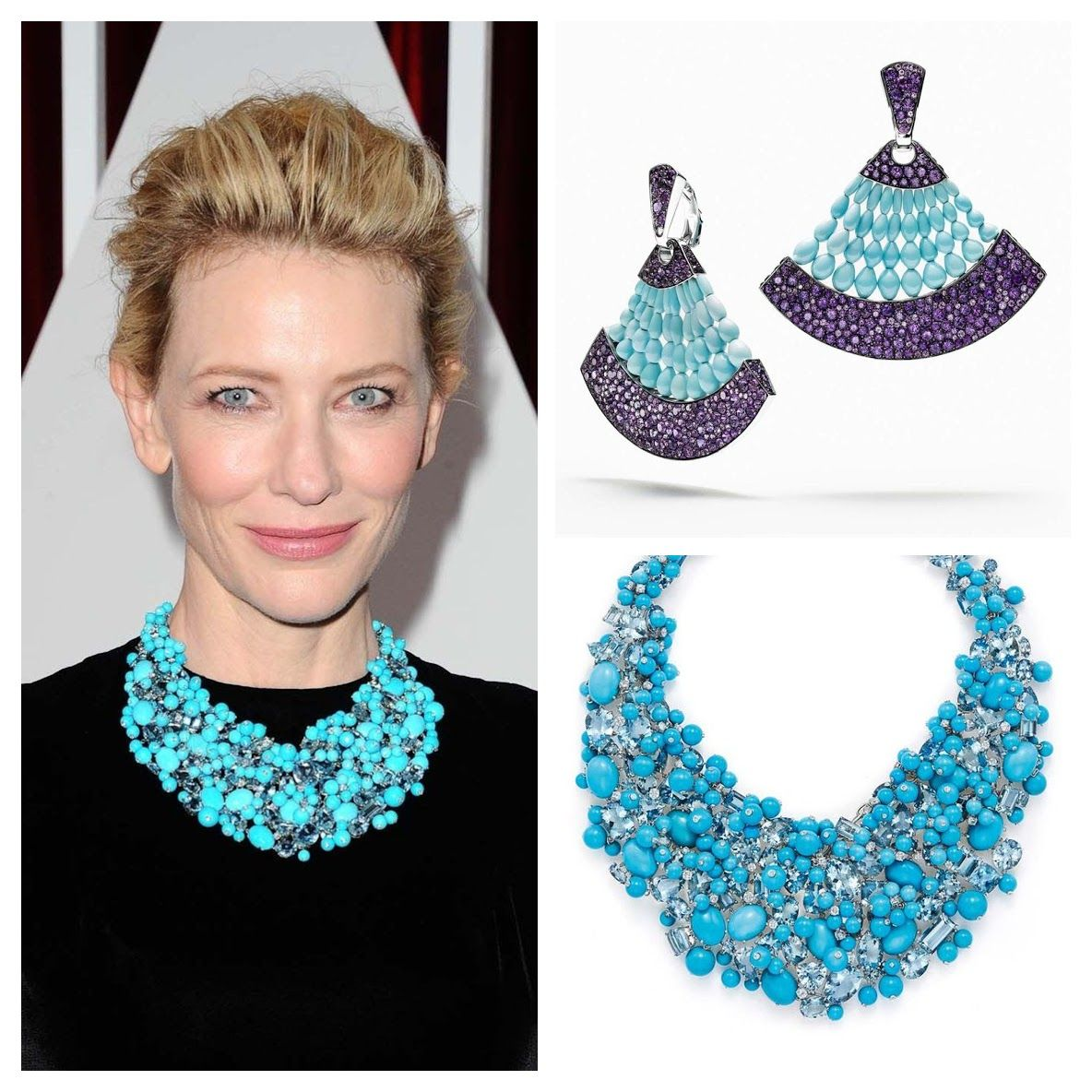 Turquoise Tiffany Blue Book necklace Cateblanchett degrisogono