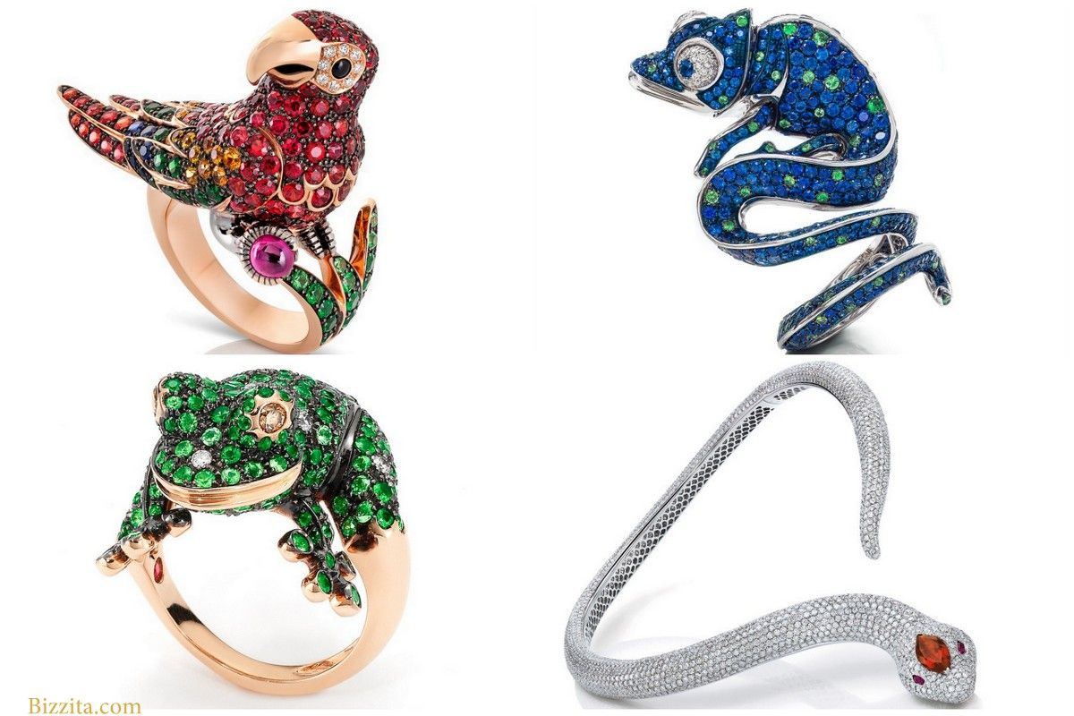 Roberto Coin animal jewelry Bizzita parrot snake frog Lizzard