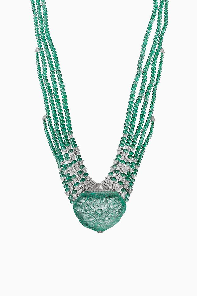 Cartier Resonances carved emerald necklace