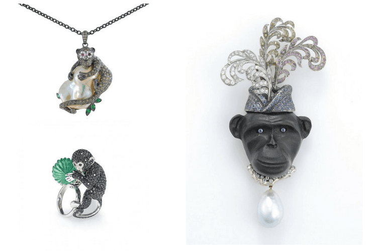 Monkey jewelry New Italian art