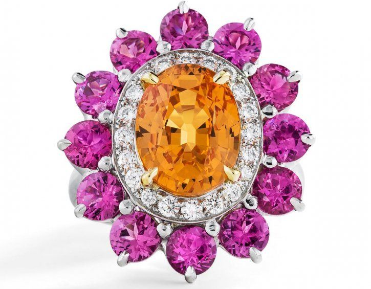 Spessartite garnet ring pink spinel diamonds Oscar Heyman