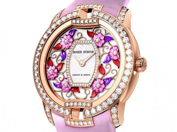 rogerdubuispink pink gold diamonds mother of pearl flowers