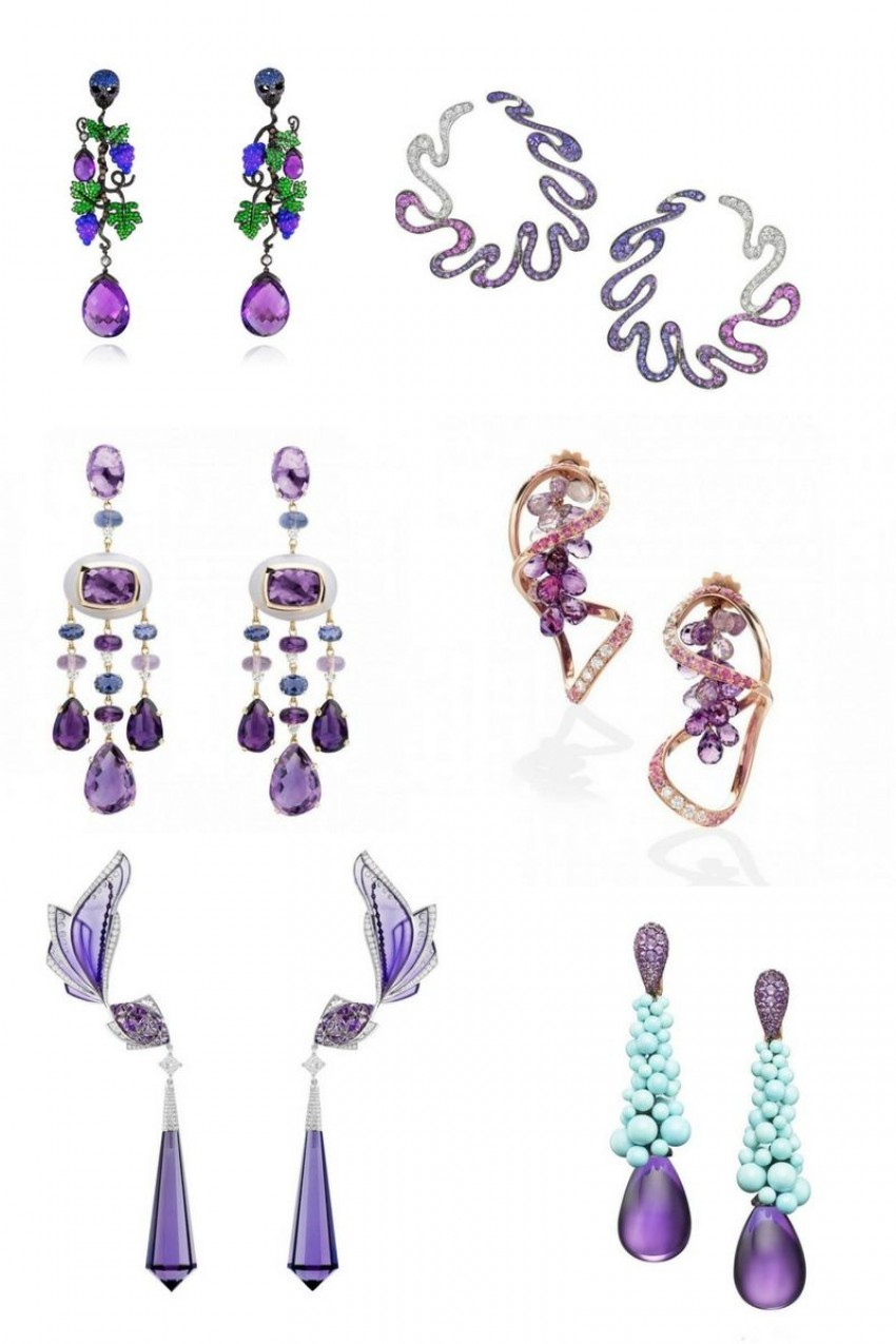 Amethyst earrings, purple glamour for your ears