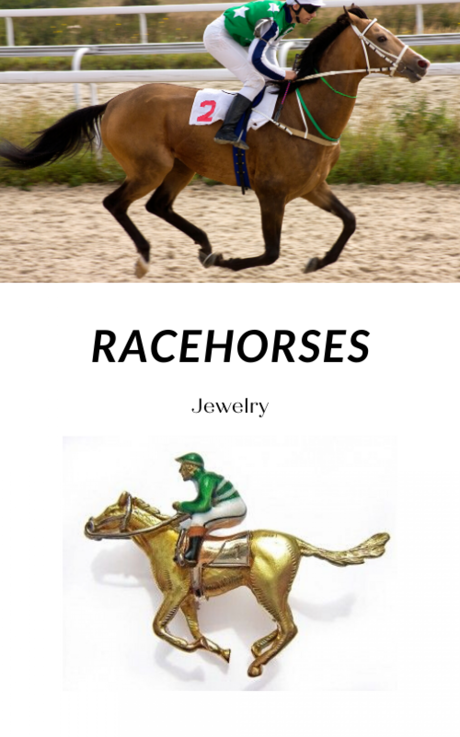 Whimsical Jewelry Brooches: Racehorses!